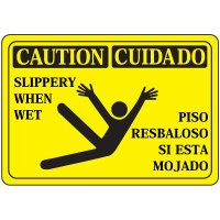 Bilingual Slippery When Wet Signs
