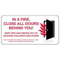 In A Fire, Close All Doors Behind You Safety Sign (White)
