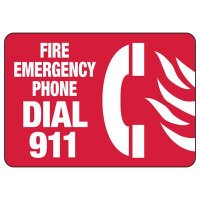 In Case of Emergency Signs - Fire Emergency Phone Dial 911