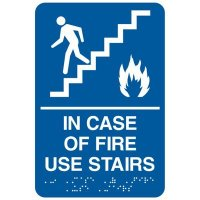 Economy Braille Signs - In Case Of Fire Use Stairs