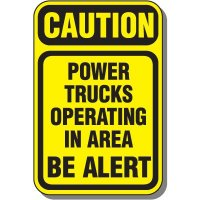Caution Trucks Operating Sign