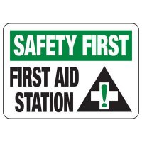 Shower, Eyewash & First Aid Signs - Safety First First Aid Station