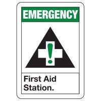 Shower, Eyewash & First Aid Signs - Emergency First Aid Station