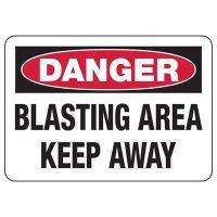 Danger Blasting Area Construction Signs