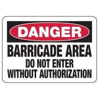 Danger Barricade Area Construction Signs