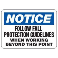 Notice Fall Protection Construction Signs