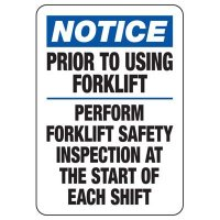 Notice Forklift Safety Inspection Sign