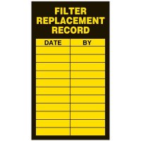 Inspection Record Labels - Filter Replacement Record