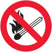 International Symbol Labels - No Fire Or Open Flames