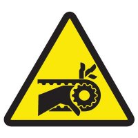 ISO Warning Symbol Labels - Chain Drive Entanglement Hazard