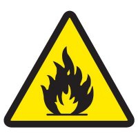 ISO Warning Symbol Labels - Flammable Materials