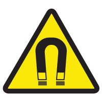 ISO Warning Symbol Labels - Strong Magnetic Field Hazard