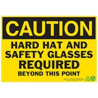 Caution Hard Hat and Safety Glasses Sign