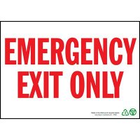 Emergency Exit Only Sign, Red on White