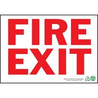 Fire Exit Sign, Red on White