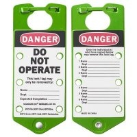 Brady 65973 Labeled Lockout Hasps (Green) - Pack of 5