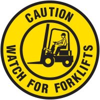 Bilingual Floor Safety Signs - Caution Watch For Forklifts