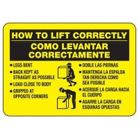 Bilingual How To Lift Correctly Sign