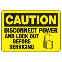 Lock-Out Signs - Caution Disconnect Power And Lock-out Before Servicing