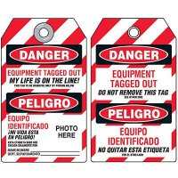 EZ Photo Lockout Tags - Equipment Tagged Out Bilingual
