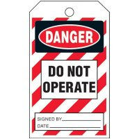 Danger Do Not Operate Striped Tag