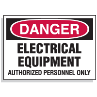 Lockout Hazard Warning Labels- Danger Electrical Equipment