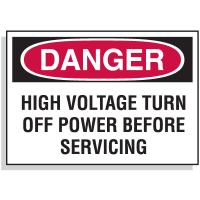 Lockout Hazard Warning Labels- Danger High Voltage Turn Off Power
