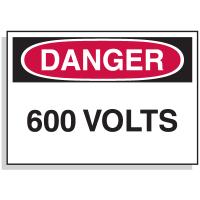 Lockout Hazard Warning Labels- Danger 600 Volts