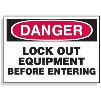 Lockout Hazard Warning Labels- Danger Lock Out Equipment Before Entering