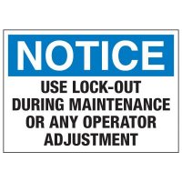 Lockout Hazard Warning Labels - Notice Use Lock-Out