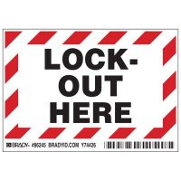 Brady 86245 Lockout Here Labels - Pack of 5