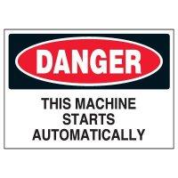 Danger Machine Starts Automatically Marker