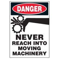 Machine Hazard Warning Markers - Danger Never Reach Into Moving Machinery