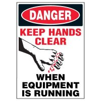 Machine Hazard Warning Markers - Danger Keep Hands Clear When Equipment Is Running