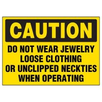 Caution No Jewelry Warning Markers
