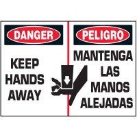 Bilingual Keep Hands Away Warning Markers