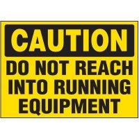 Caution Running Equipment Label