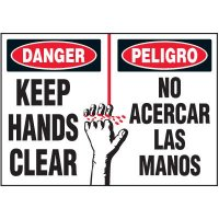 Bilingual Keep Hands Clear Label