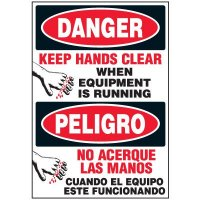 Bilingual Danger Keep Hands Clear Label