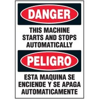Bilingual Danger Automatic Machine Safety Labels