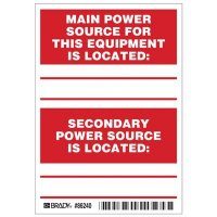 Brady 86240 Main / Secondary Power Source Labels - Pack of 5