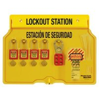 Master Lock® Bilingual 4-Lock Padlock Station, Filled