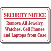 Security Notice Remove Items Sign