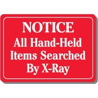 Notice Hand-Held Items Searched Sign
