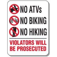 Activity Prohibition Signs - No ATVs No Biking No Hiking