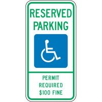 Reserved Parking Permit $100 Fine Sign