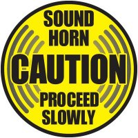 Caution Sound Horn Floor Label
