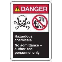 ANSI Format Multi-Message Hazard Sign - Danger Hazardous Chemicals
