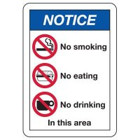 ANSI Format Multi-Message Hazard Sign - Notice No Smoking