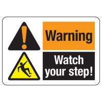 ANSI Format Multi-Message Hazard Sign - Warning Watch Your Step